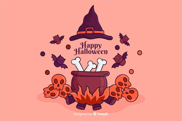 Hand drawn halloween background with witch elements Free Vector