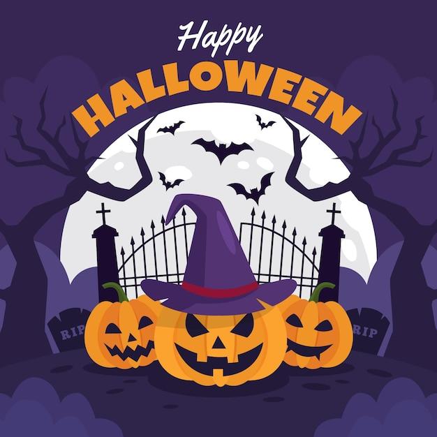 Hand drawn halloween background Free Vector