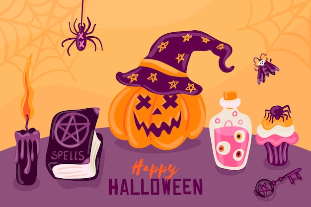 Hand drawn halloween background Free Vector