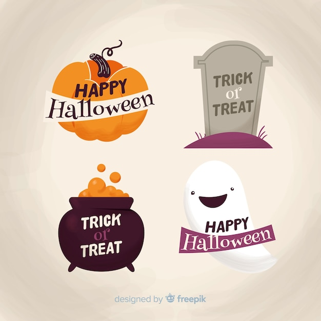 Hand drawn halloween badge collection Free Vector