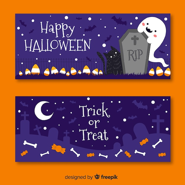 Hand drawn halloween banners in cemetery Free Vector
