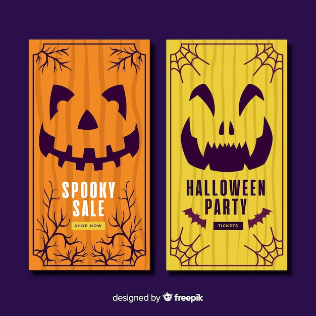 Hand drawn halloween banners with pumpkins Free Vector