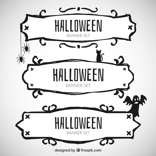 hand drawn halloween banners Free Vector