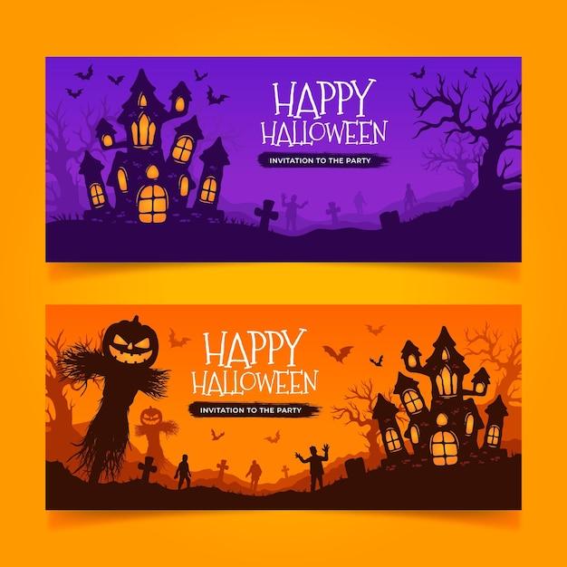 Hand drawn halloween banners Free Vector