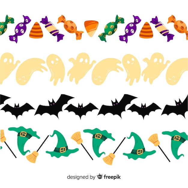 Hand drawn halloween border collection on white background Free Vector