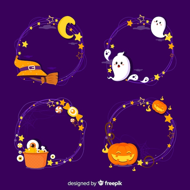Hand drawn halloween border collection Free Vector