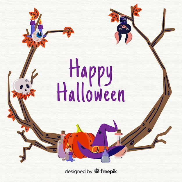 Hand drawn halloween branches frame Free Vector