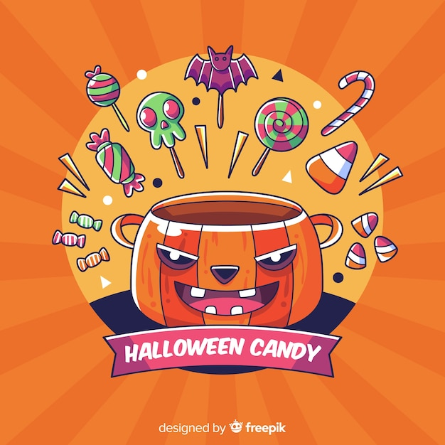 Hand drawn halloween  candy background Free Vector