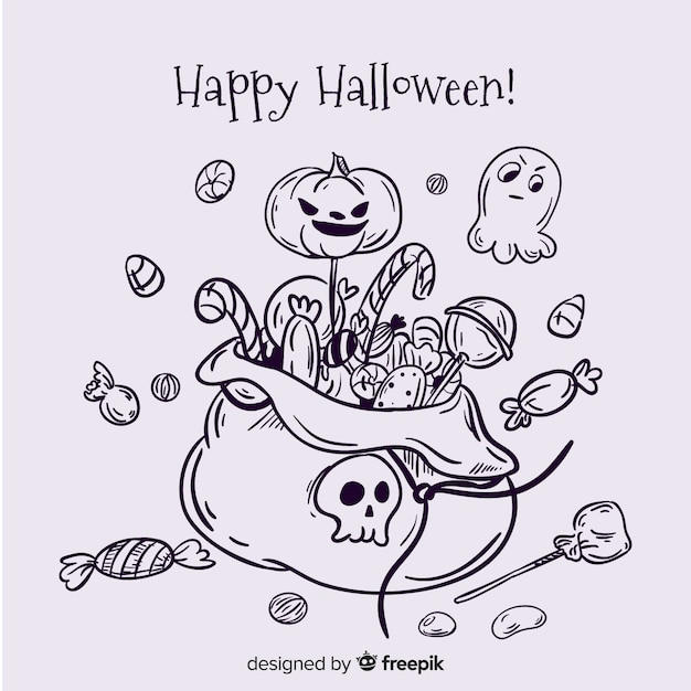 Hand drawn halloween candy bag background Free Vector