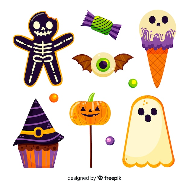 Hand drawn halloween candy collection on white background Free Vector