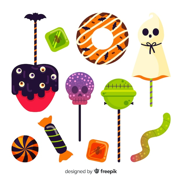 Hand drawn halloween candy collection on white surface Free Vector