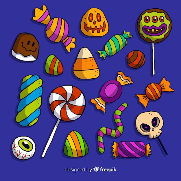 Hand drawn halloween candy collection Free Vector