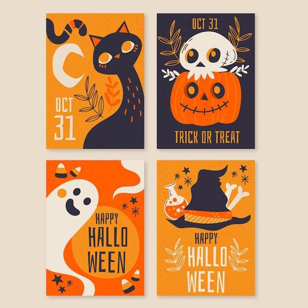 Ручной обращается коллекция хэллоуин карты Бесплатные векторы