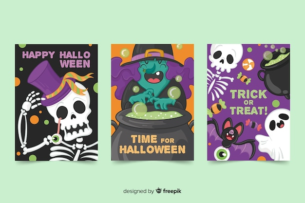 Hand drawn halloween card creatures collection Free Vector