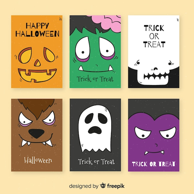 Hand drawn halloween card template collection Free Vector