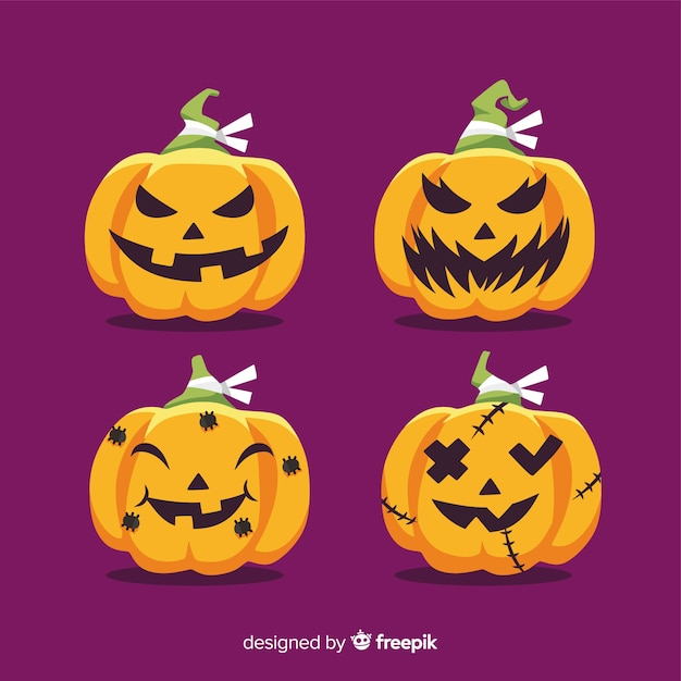 Hand drawn halloween carved pumpkin collection Free Vector