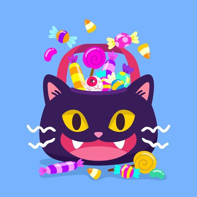 手描きのハロウィン猫バッグ 無料ベクター