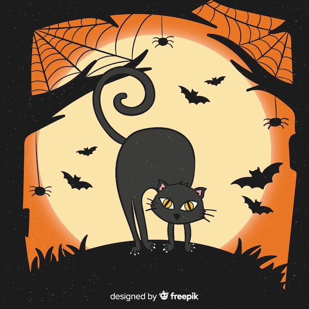 Hand drawn halloween cat and bats Free Vector