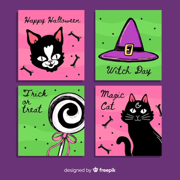 Hand drawn halloween cat card collection Free Vector