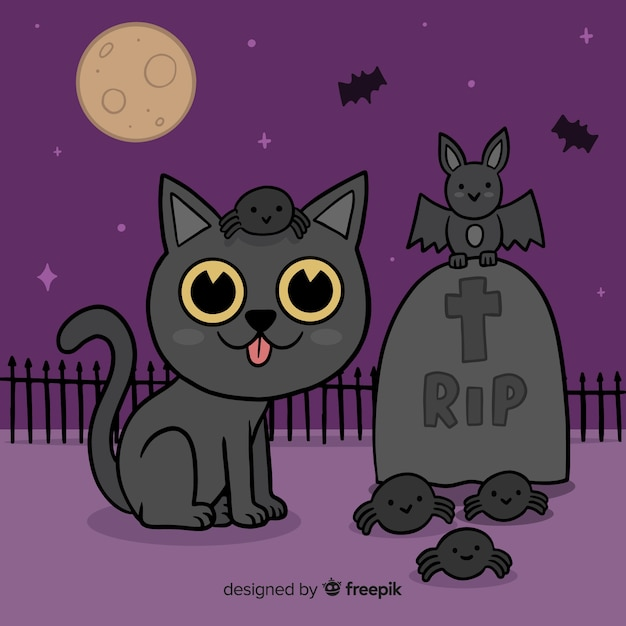 Hand drawn halloween cat in cemetery Free Vector