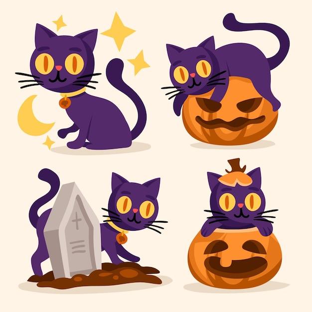 手描きのハロウィン猫コレクション 無料ベクター