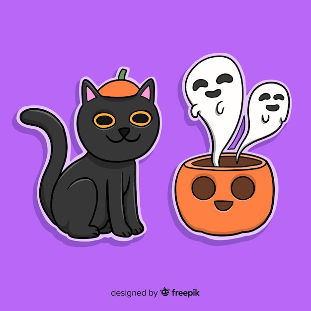 Hand drawn halloween cat and pumpkin with ghosts Free Vector