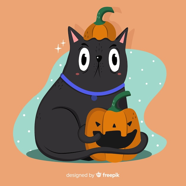 Hand drawn halloween cat with eyes wide open Free Vector