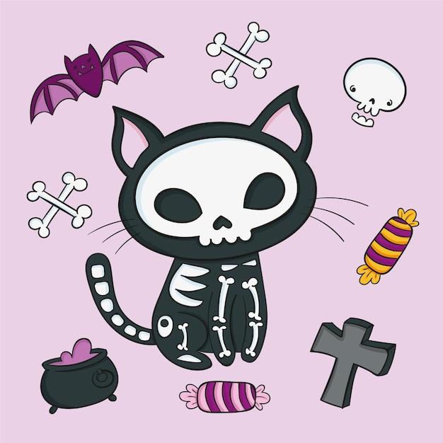Gatto di halloween disegnato a mano Vettore gratuito