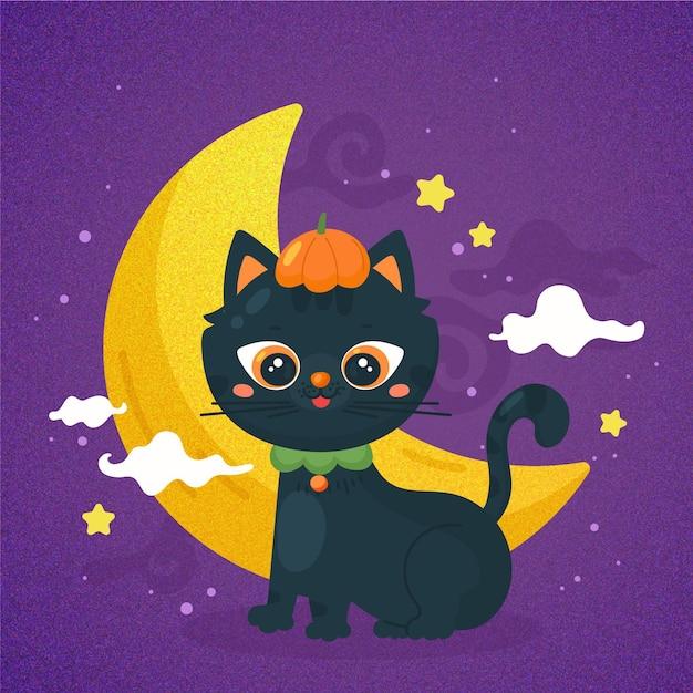 手描きのハロウィン猫 Premiumベクター