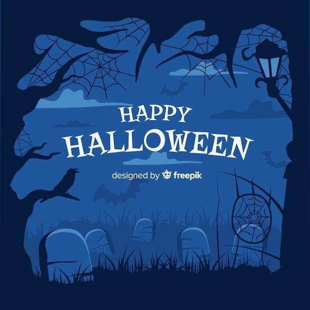 Hand drawn halloween cemetery frame Free Vector