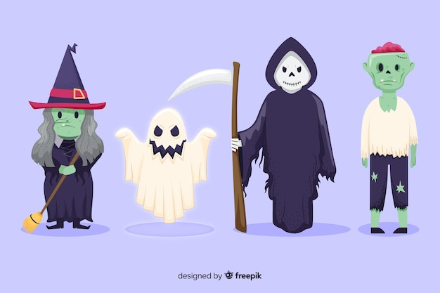 Hand drawn halloween character collectio Free Vector