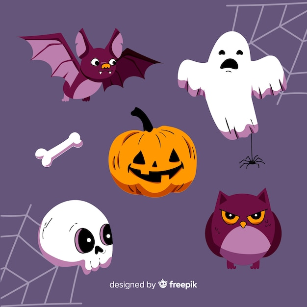 Hand drawn halloween character collection Free Vector
