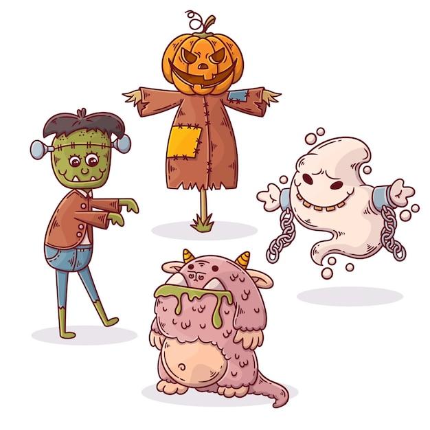Коллекция рисованной хэллоуин Premium векторы