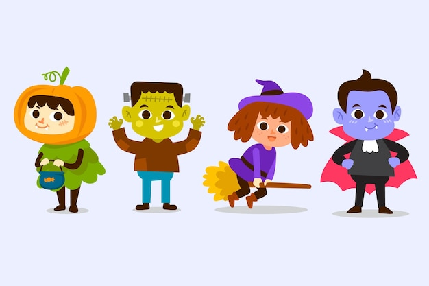 Hand drawn halloween character collection Premium Vector