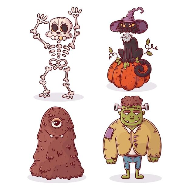 Коллекция рисованной хэллоуин Бесплатные векторы