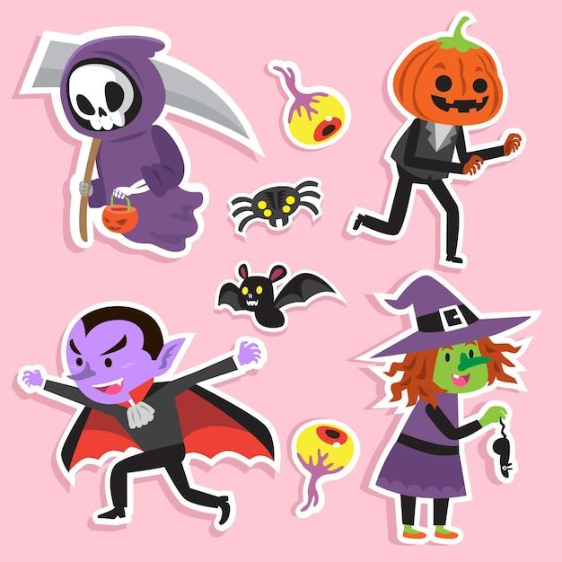 Набор рисованной хэллоуин символов Premium векторы