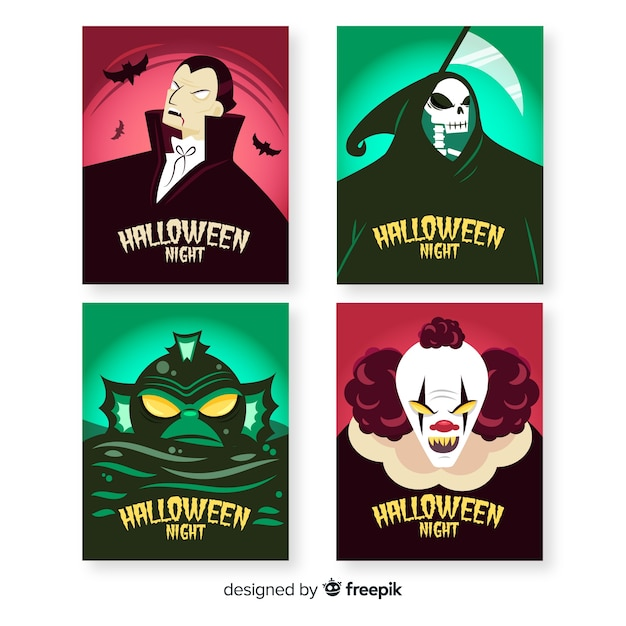 Hand drawn halloween characters card collection Free Vector