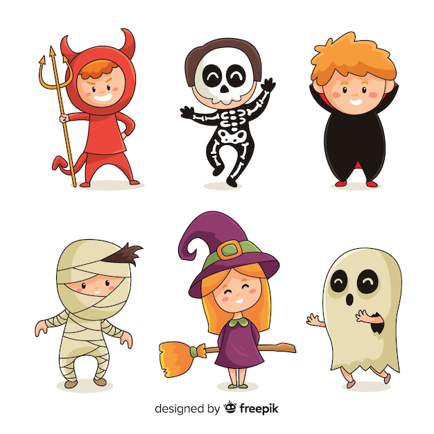 Hand drawn of halloween costumes kid collection Free Vector