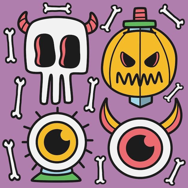 Ручной обращается хэллоуин каракули иллюстрации Premium векторы