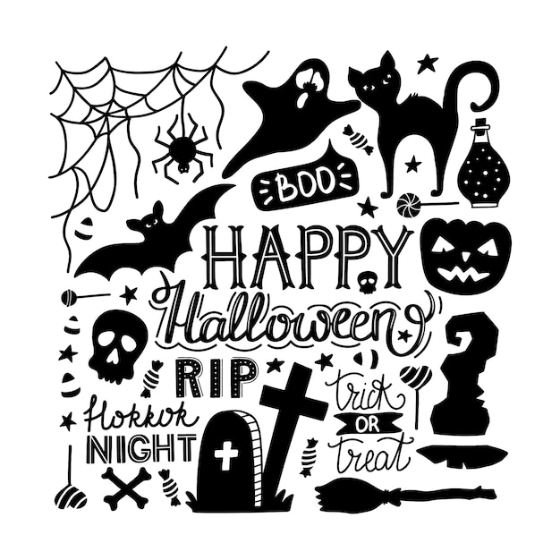 Hand drawn halloween doodles print with lettering. Premium Vector