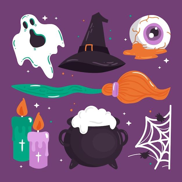 Collezione di elementi di halloween disegnati a mano Vettore gratuito