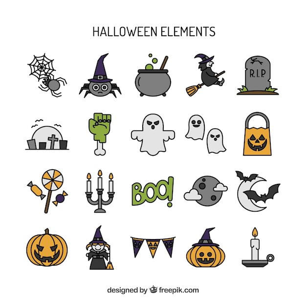 Hand drawn halloween elements collection Free Vector