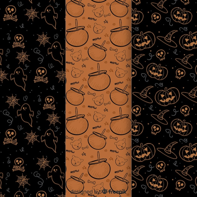 Hand drawn halloween elements pattern collection Free Vector