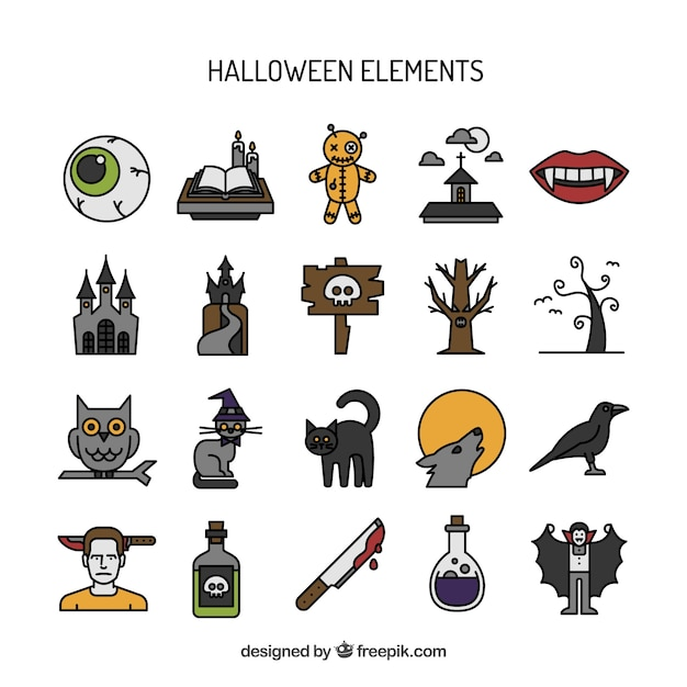 Hand drawn halloween elements set Free Vector