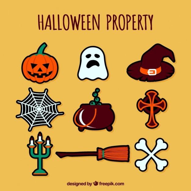 Hand drawn halloween elements Free Vector