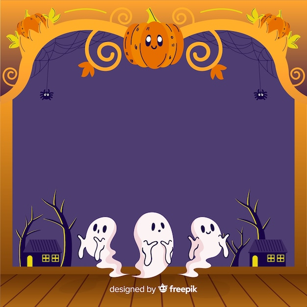 Hand drawn halloween frame with pumpkin and ghosts Free Vector