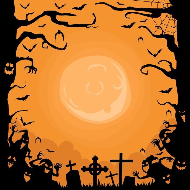 Нарисованная от руки рамка для хэллоуина Premium векторы