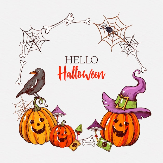 Cornice di halloween disegnata a mano Vettore gratuito