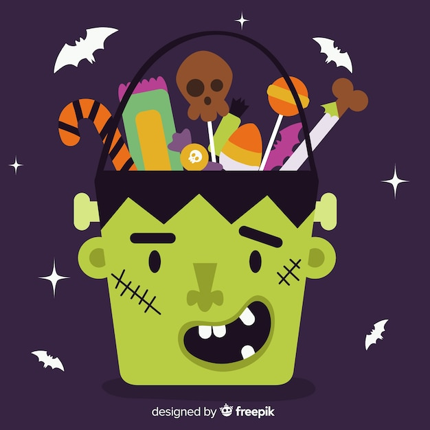 Hand drawn halloween frankenstein bag Free Vector