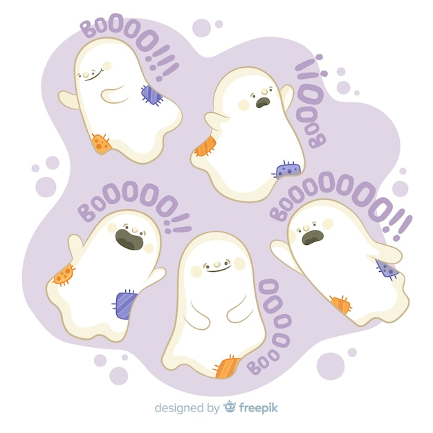 Hand drawn halloween ghost collection with boo! quote Free Vector